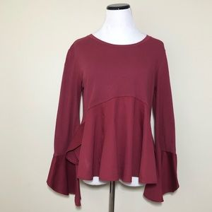 Anthropologie Guest Editor Peplum Bell Sleeve Top